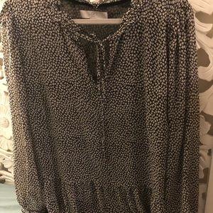 LOFT blouse - black white cute small floral design